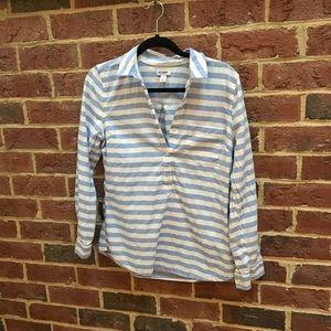 Women's half- button up stripe shirt- size S